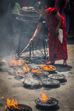 Woman in Buddhist Temple Royalty Free Stock Image