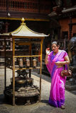 Woman in Buddhist Temple Royalty Free Stock Images