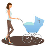 Woman with buggy. Young woman with her child in a buggy vector illustration