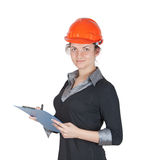Woman builder. In a helmet and tablet in hand. isolated on white Stock Photography