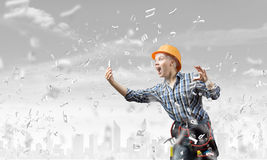 Woman builder in anger Royalty Free Stock Photography