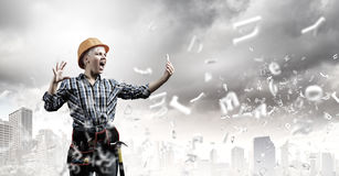 Woman builder in anger Royalty Free Stock Photo