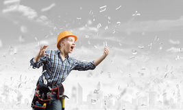 Woman builder in anger Royalty Free Stock Image