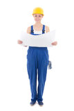 Woman builder in blue coveralls holding building plan isolated o Royalty Free Stock Image