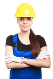 Woman builder in the blue uniform Royalty Free Stock Image