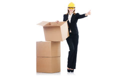 Woman builder with boxes Royalty Free Stock Images