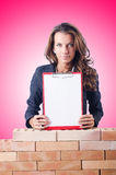 Woman builder and brick wall Stock Images