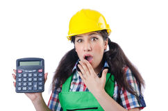 Woman builder with calculator Stock Photos
