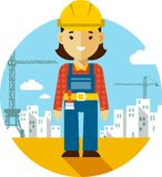 Woman builder on construction background in flat style Stock Image
