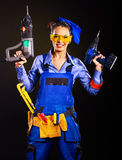 Woman builder with construction tools. Stock Photography
