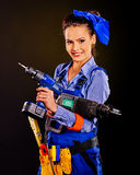 Woman builder with construction tools Stock Photo