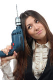 Woman builder with drill machine Royalty Free Stock Images
