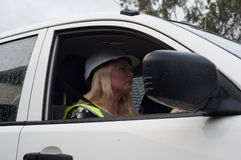 Woman Builder driving Royalty Free Stock Photo