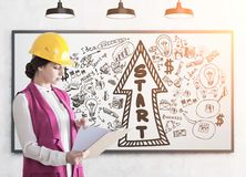 Woman builder in a hardhat, start up Royalty Free Stock Photos
