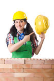 Woman builder Stock Photo