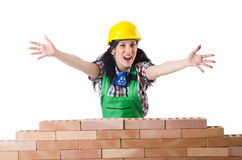 Woman builder isolated Stock Photo
