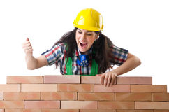 Woman builder isolated Stock Photos