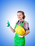 Woman builder isolated on the white Royalty Free Stock Image