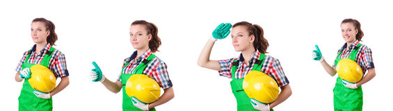 The woman builder isolated on the white Stock Image