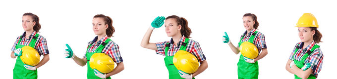 Woman builder isolated on the white Stock Photo