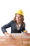 Woman builder measuring Stock Photos