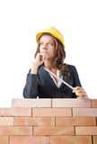 Woman builder measuring Royalty Free Stock Photography