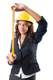 Woman builder. With measuring tape Stock Image