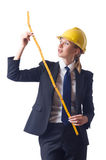 Woman builder. With measuring tape Royalty Free Stock Photos