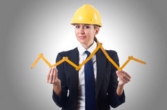 Woman builder. With measuring tape Royalty Free Stock Image
