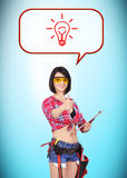 Woman builder thinking Royalty Free Stock Photo