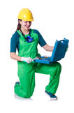 Woman builder with toolkit Stock Photo