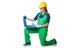 Woman builder with toolkit Royalty Free Stock Photos