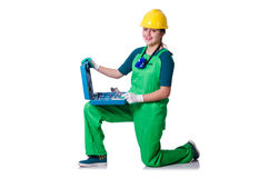Woman builder with toolkit isolated on white Royalty Free Stock Photography