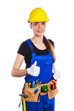 Woman builder in the uniform and construction belt Royalty Free Stock Photography