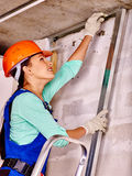 Woman in builder uniform Royalty Free Stock Photos