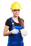 Woman builder in the uniform with a notebook Royalty Free Stock Images