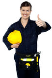 Woman in builder uniform showing thumbs up Royalty Free Stock Images