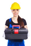 Woman builder in the uniform with a toolbox Royalty Free Stock Images