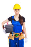 Woman builder in the uniform with a toolbox Stock Photography