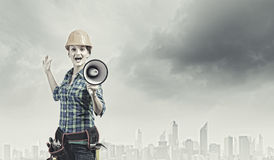 Woman builder Royalty Free Stock Image
