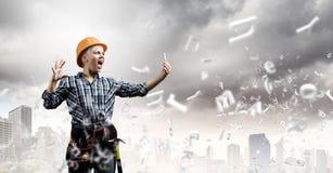 Woman builder Stock Image