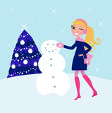 Woman building winter christmas snowman. Cute blond woman building snowman in mountains. Vector illustration Stock Photography