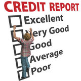 Woman builds up credit report score rating. A young 3D woman debt consumer works to build up her credit score rating report Stock Images