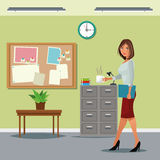 Woman buisness office table cabinet file notice board clock. Vector illustration eps 10 Stock Photos