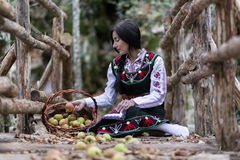 Woman with bulgarian costume Royalty Free Stock Photos