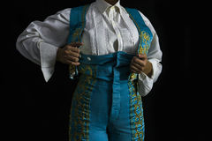 Woman bullfighter by dressing with vest Royalty Free Stock Image