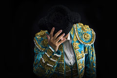 Woman bullfighter salutes with his montera Royalty Free Stock Images