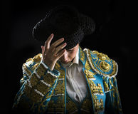 Woman bullfighter salutes with his montera Stock Images