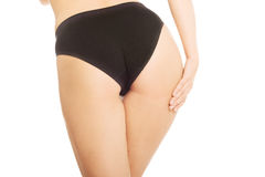 Woman bum in black panties Stock Photos