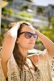 Woman with bun hair and bikini. Royalty Free Stock Photography